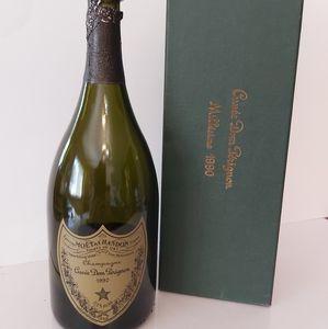 An empty Don Perignon champagne bottle 1990